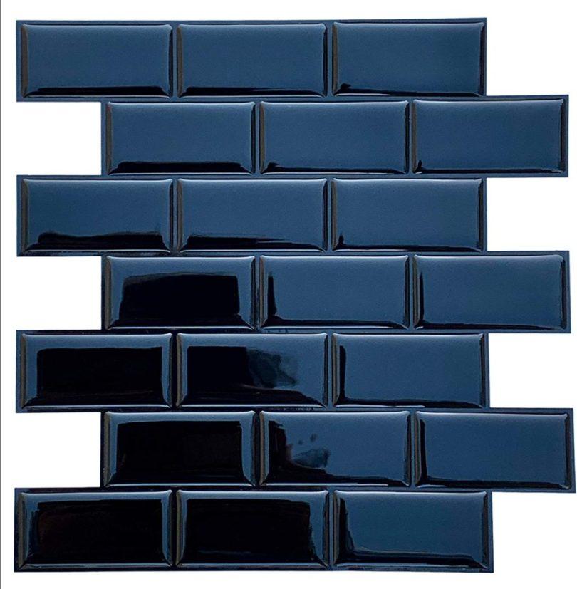 azulejo adesivo preto metrô para cozinha