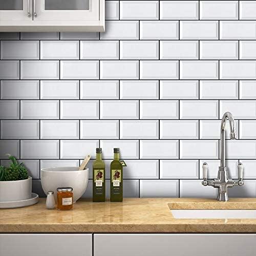 azulejo decorado adesivo metrô branco para cozinha