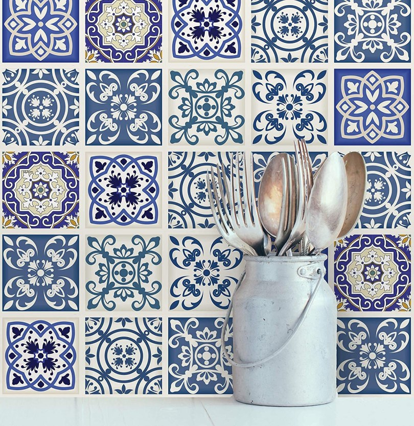 azulejo decorado adesivo cozinha royal azul