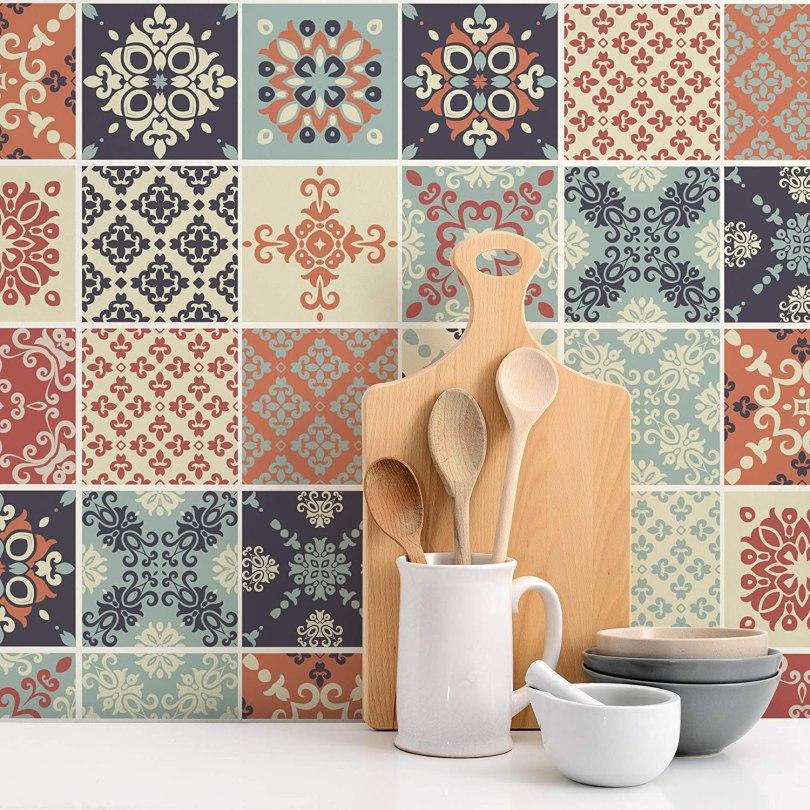 azulejo decorado adesivo para cozinha vintage