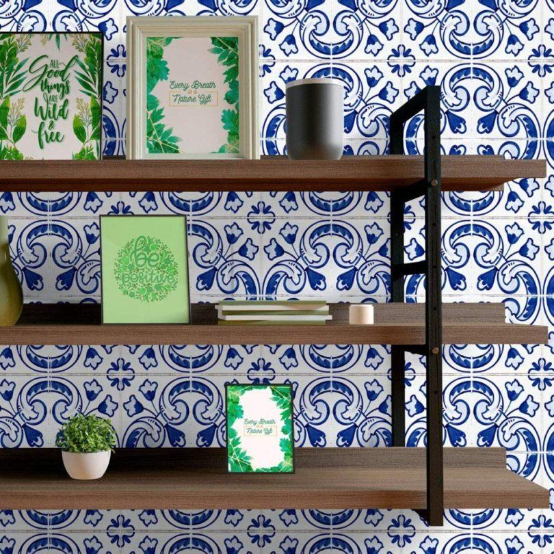 azulejo português azul adesivo grudado para cozinha