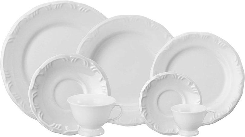 jogo 42 peças pratos porcelana branca