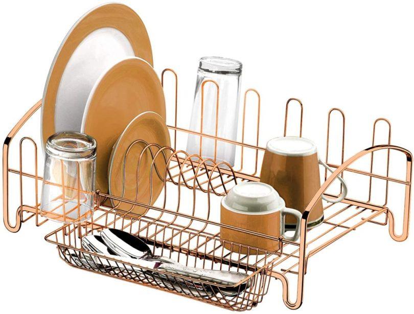 escorredor de louças e pratos rosé