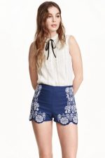 hm co-ord embroidered linen shorts