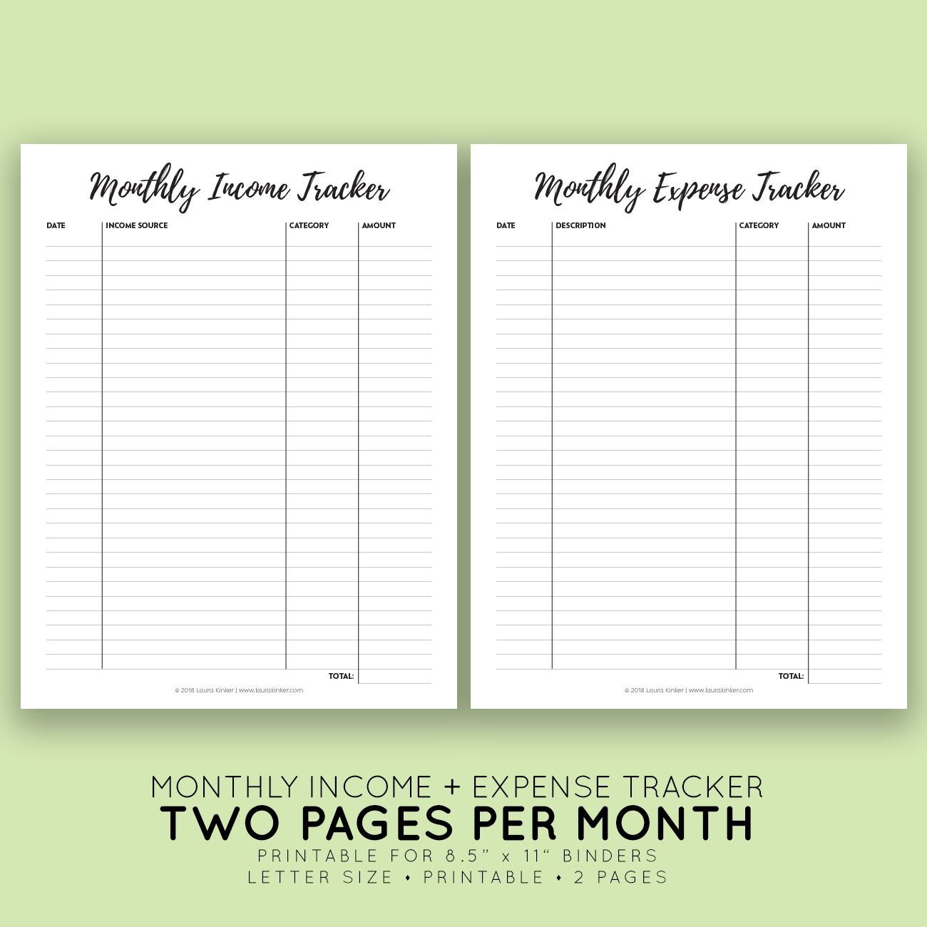 Printable Monthly Income Expense Tracker