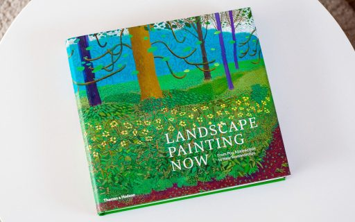 Picture of the book Landscape Painting Now which contains a selection of contemporary landscape artists showcasing their work, including Alex Katz, Lois Dodd, David Hockney, Daniel Heidkamp and Isca Greenfield-Sanders.