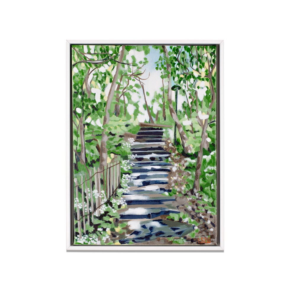 Forest Staircase, acrylic on canvas, 30 x 40 cm, 2020, available on webshop