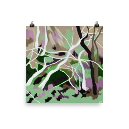 """Poster based on """"Abstracted Sculptural Trees"""", a contemporary landscape painting inspired by the forests surrounding De Haan"""