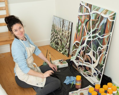 Laura working on Vertical Sculptural Trees