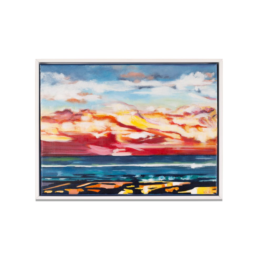 De Haan Sunset, acrylic on canvas, 40 x 30 cm, 2020, sold (available as poster)