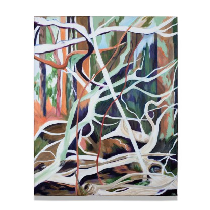 Vertical Sculptural Trees, acrylic on canvas, 80 x 100 cm, 2021, available on webshop