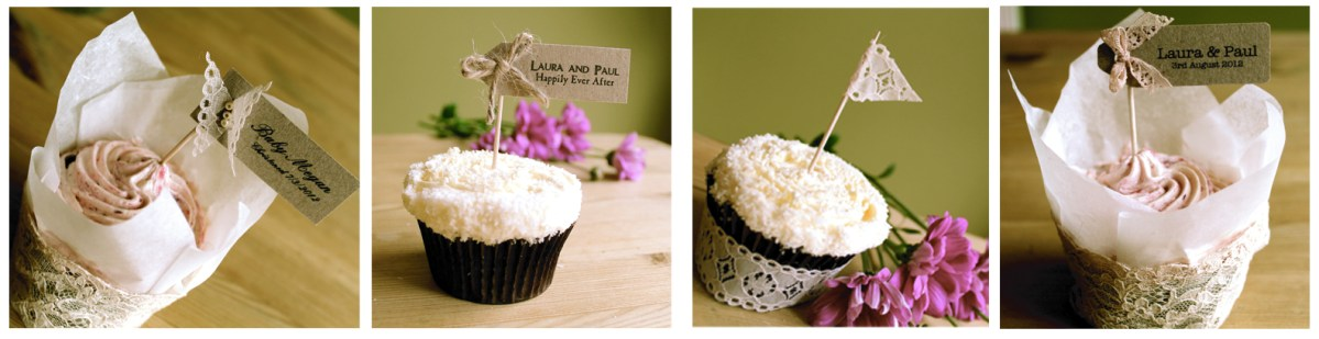 Cup cake wedding favors vintage lace bespoke cupcake flags