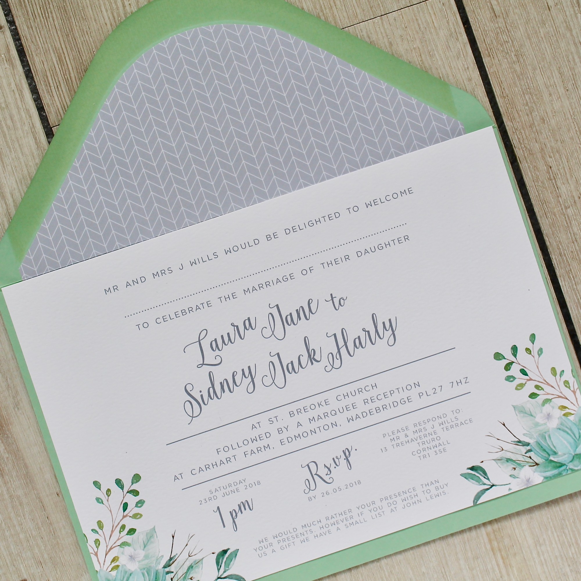foliage, green and white, succulents, watercolour, calligraphy, floral, cool, contemporary, wedding, stationery, stationary, invitation, invite, invites, invitations, cornwall, Cornish, Laura likes