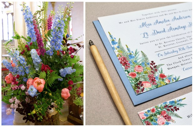 Cornish hedgerow, wedding, invitations, invites, stationery, stationary, wildflowers, peonies, foxgloves, native, floral, watercolour, illustrations, coral, delphiniums, cornwall, Laura likes