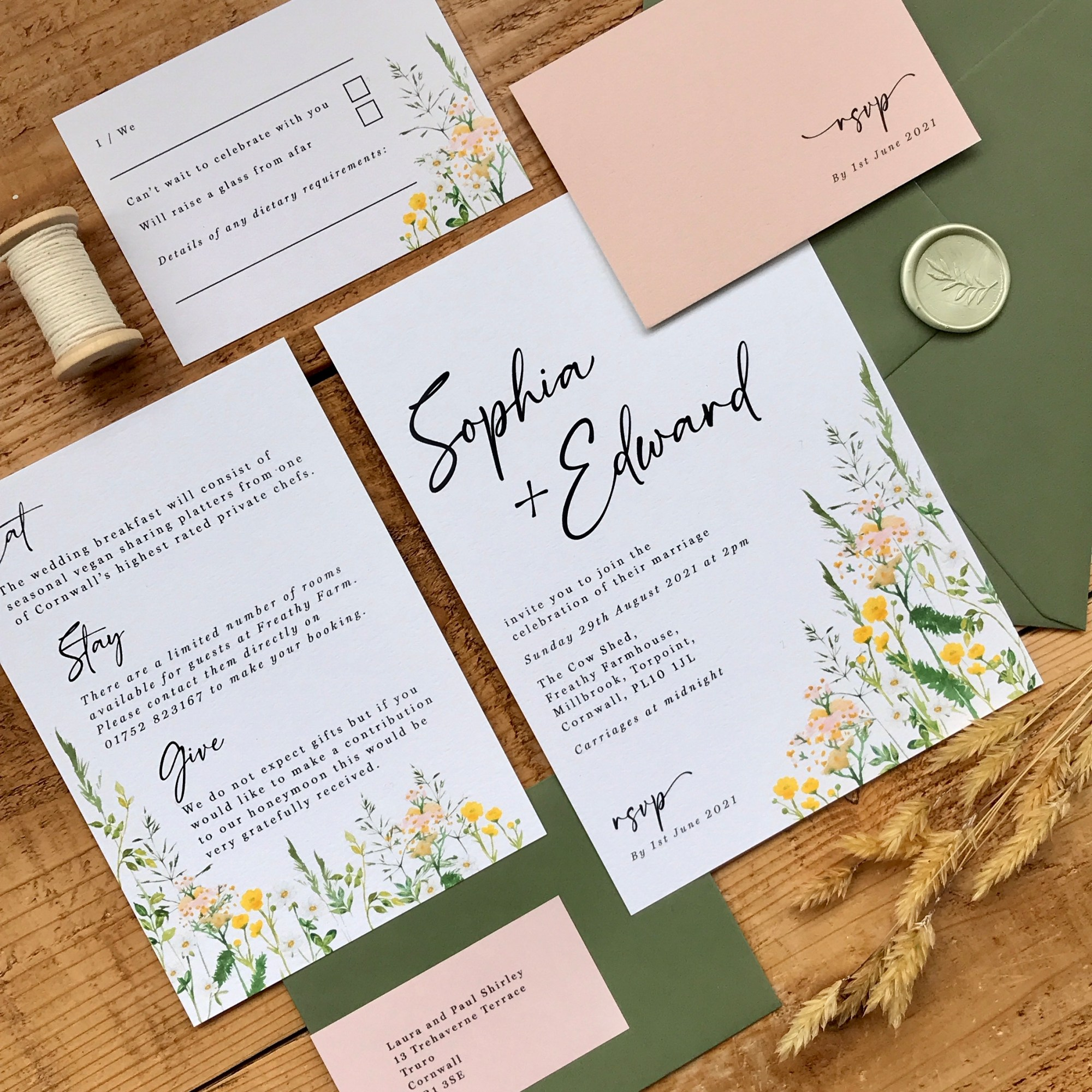 meadow, wildflower, simple, foliage, green, neutral, grass, grasses, wild, wedding, invitation, invites, invitations, eco, recycled, Cornwall, Cornish, stationery, Laura Likes