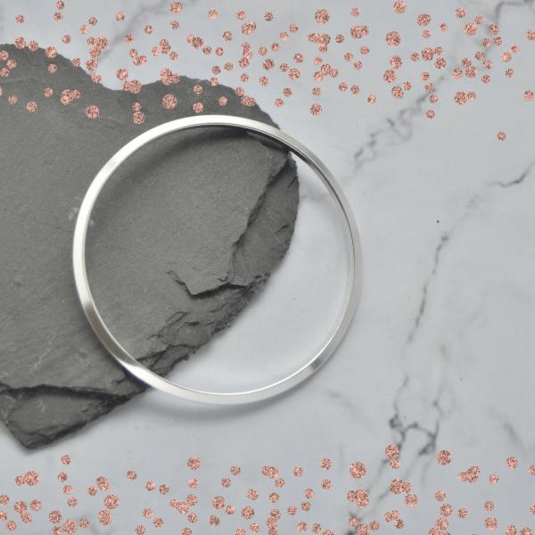 Triangular Profile Solid Silver Ladies Bangle Bracelet by Laura Llewellyn Designs