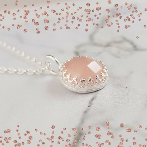 Silver and Rose Quartz Gemstone Pendant by Laura Llewellyn Design