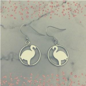 Silver Flamingo Earrings
