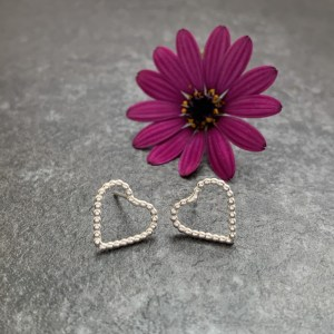 Small silver heart stud earrings