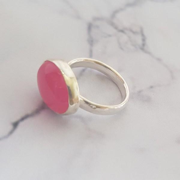 Pink jade Cocktail ring