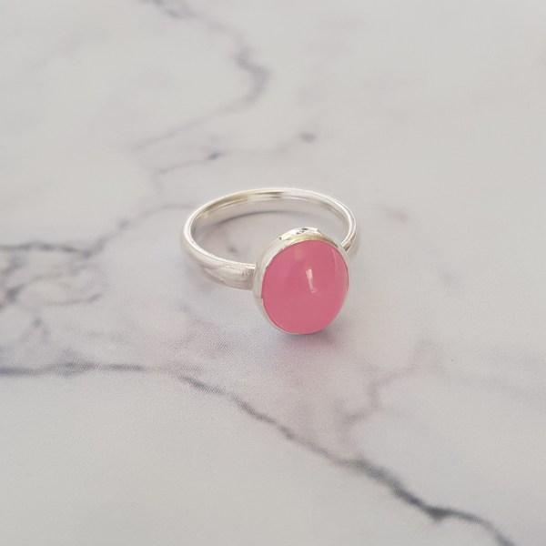 Pink Jade Beaded Stacking Ring