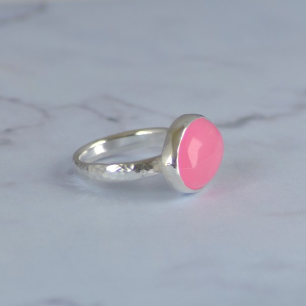 Pink jade silver cocktail ring