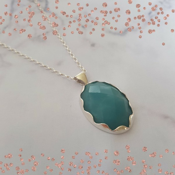 Silver and Amazonite pendant by Laura Llewellyn Design