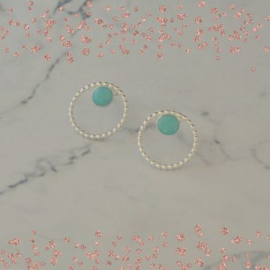 Silver and amazonite stud earrings