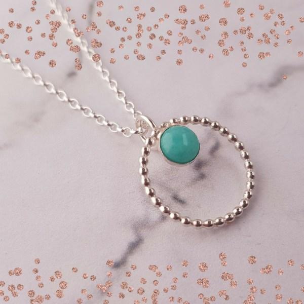 Silver and amazonite pendant