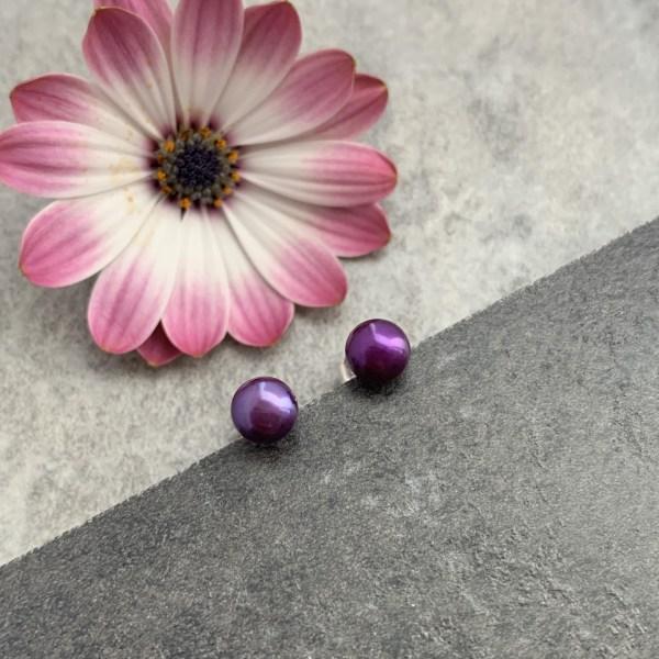 Purple pearl stud earrings