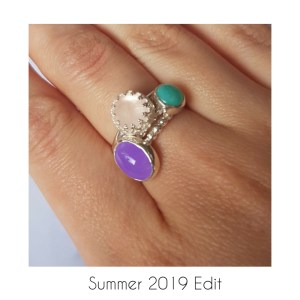 Summer stacking rings with gemstones