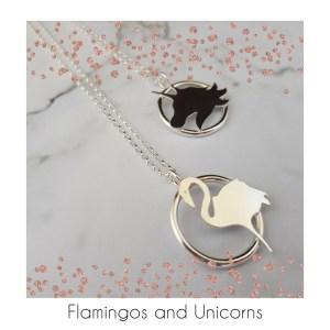 Flamingo and unicorn silver pendants