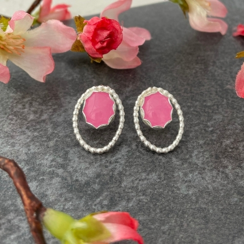 Pink gemstone earrings handmade in sterling silver