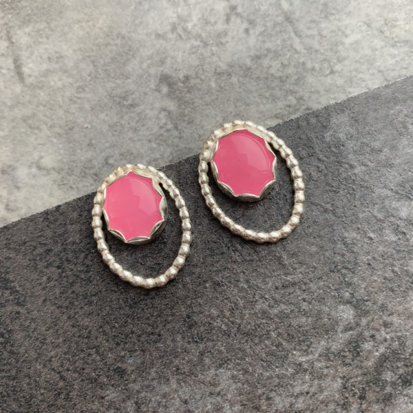 Pink jade gemstone stud earrings