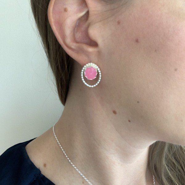 Pink jade earrings