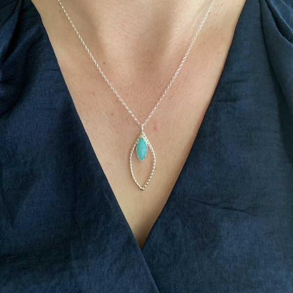 Amazonite green gemstone necklace