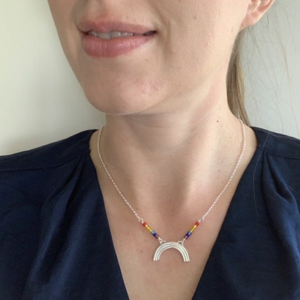 Silver rainbow necklace