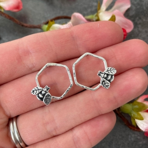 Silver bee and honeycomb earrings
