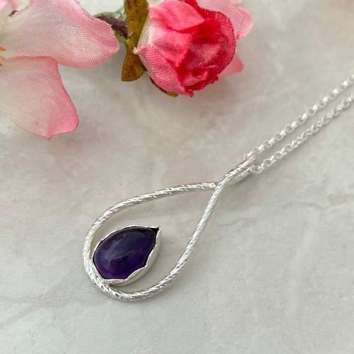Amethyst Purple Gemstone Silver Pendant Necklace