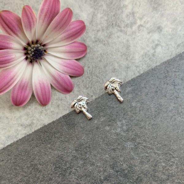 Silver palm tree stud earrings