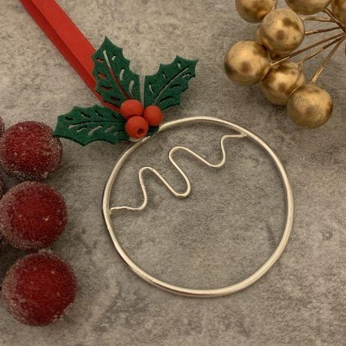 Silver Christmas Pudding Tree Decoration