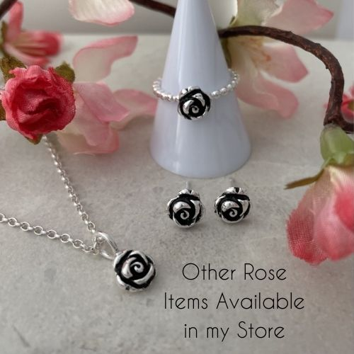 Silver rose flower jewellery