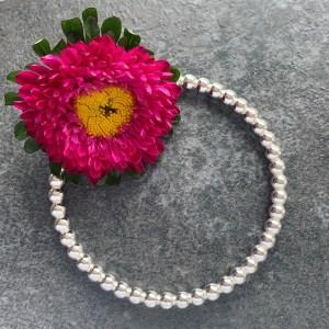 Beaded silver bangle
