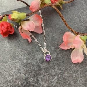Purple amethyst gemstone pendant