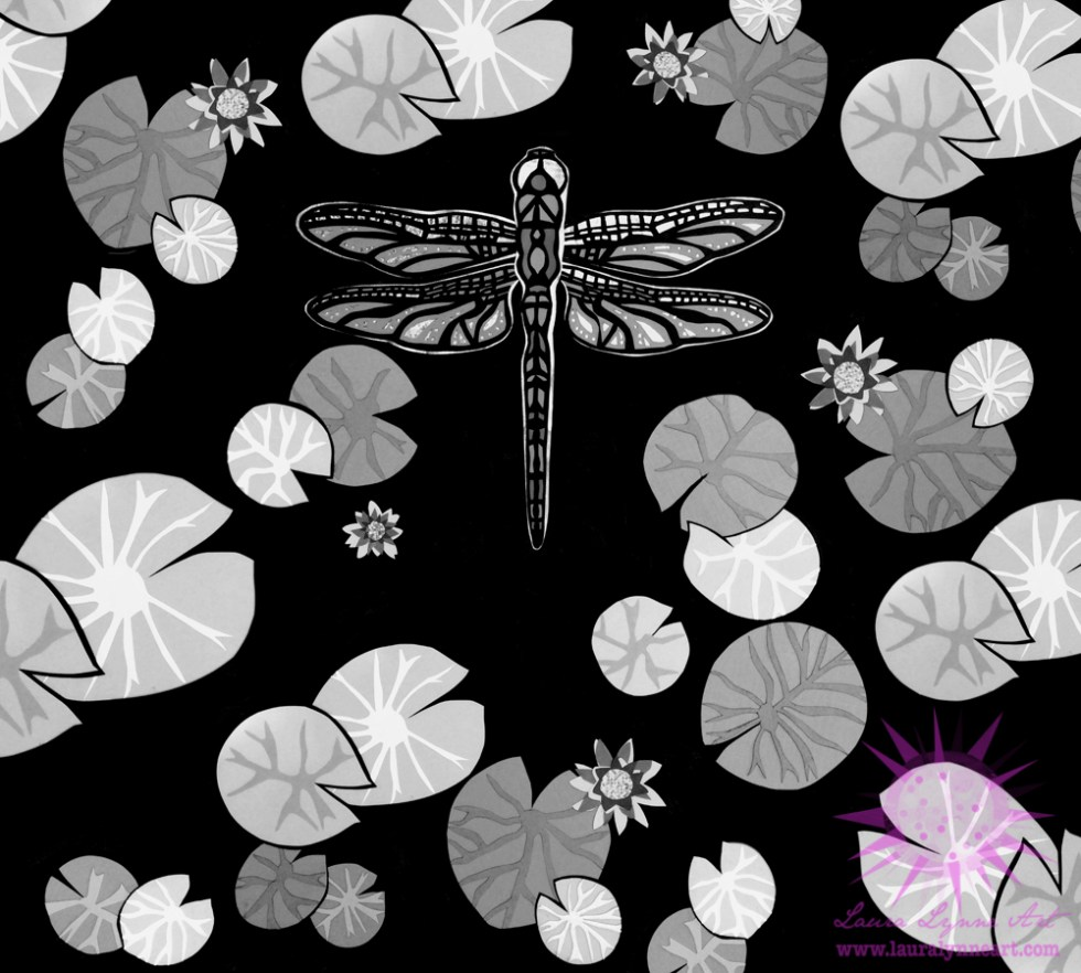 black and white dragonfly illustration with lily pads and lotus