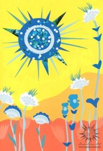 scarlet begonias grateful dead song illustration with blue sun