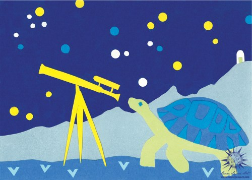 Turtle looking through a vintage telescope with stars mixed media childrens book illustration artwork