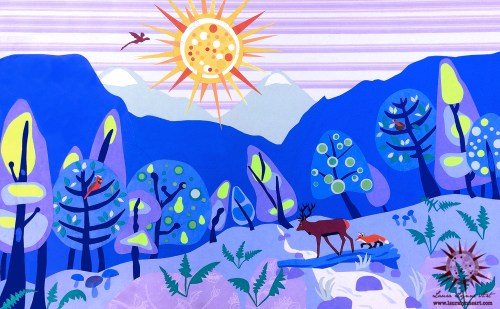 Woodland mixed media Illustration with mid-century modern trees, stag, fox, dragon, and mountains