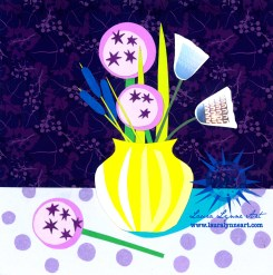 purple-flower-collage-with-yellow-vase