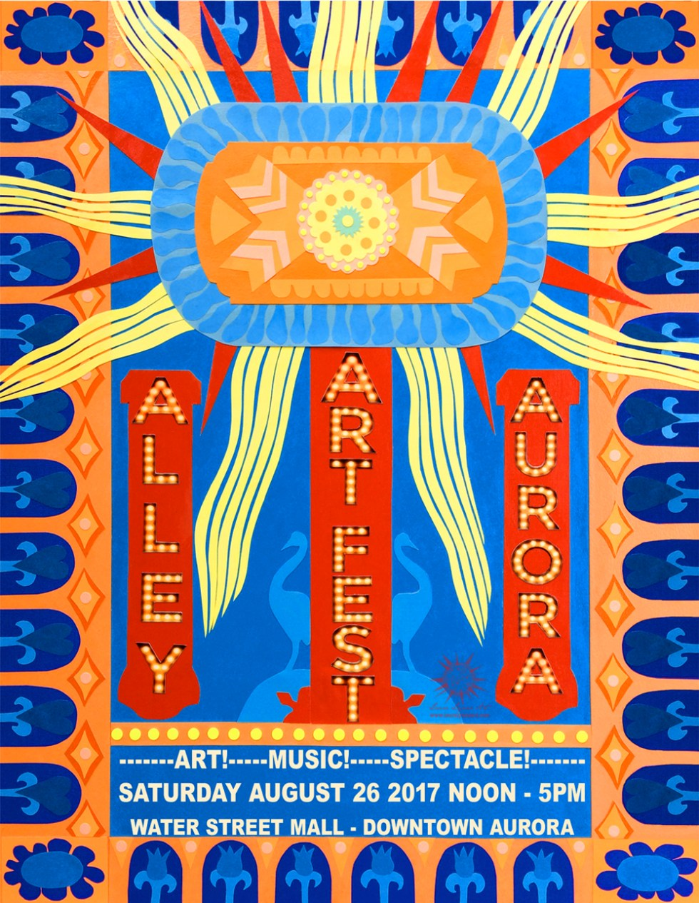Alley Art Fest Poster Design 2017 based on Paramount Theater Light by Laura Lynne Art
